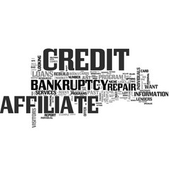 Affiliate niche after bankruptcy market text word vector