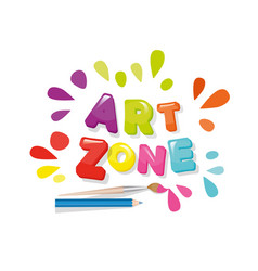 Art zone colorful banner cartoon letters and vector