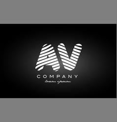 Av a v letter alphabet logo black white icon vector
