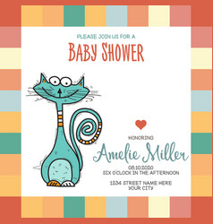 baby shower card template with funny doodle cat vector image vector image