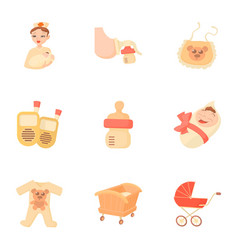 birth icons set cartoon style vector image