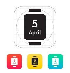 Calendar on smart watch icon vector