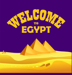 Cartoon welcome to egypt concept egyptian vector