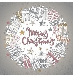 Christmas greeting card with hand drawn holiday vector image