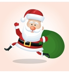 christmas santa claus jump happy with bag gift vector image