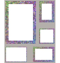 Colorful mosaic page frame template set vector