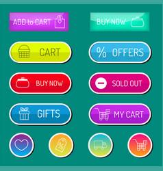 colorful website online shop web buttons design vector image vector image