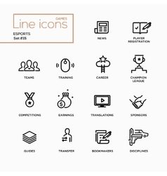 Esports - single line pictograms set vector