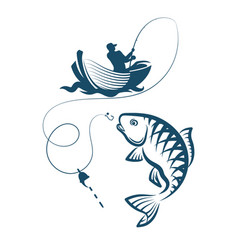 Fisherman catches a fish vector