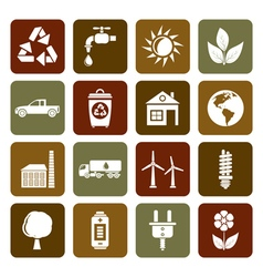 Flat ecology and environment icons vector image