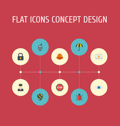 Flat icons vision policeman lock and other vector