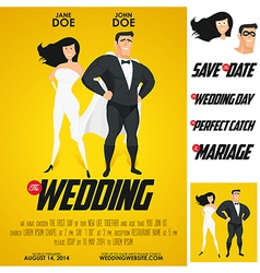 Funny super hero movie poster wedding invitation vector