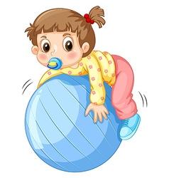Girl and ball vector image vector image