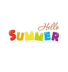 hello summer festive colorful letters vector image