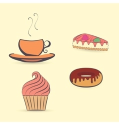 Hot Beverage with Desserts vector image vector image