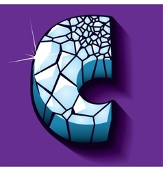 Ice font -letter C vector image vector image