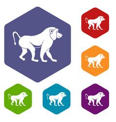 Japanese macaque icons set hexagon vector