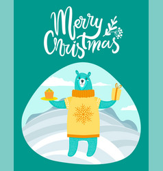 merry christmas card with bear on winter landscape vector image vector image