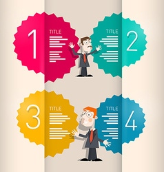 One two three four retro paper progress steps for vector
