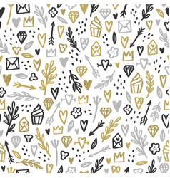 Romantic doodle background gold silver glitter vector