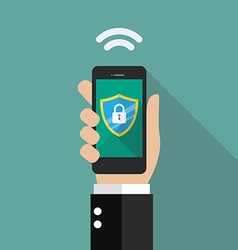 Smartphone protected by firewall guard vector image