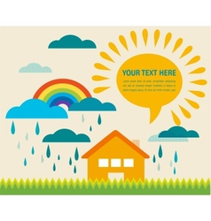 spring time with sun and raining clouds vector image