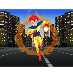 Superhero on the road in the city vector image vector image