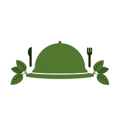 Tableware cover with leaves and cutlery vector