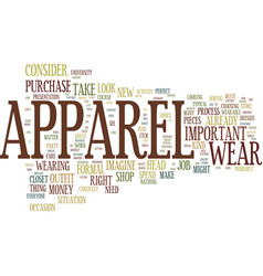the perfect apparel text background word cloud vector image vector image