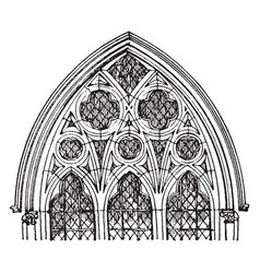 Tracery gothic window vintage engraving vector