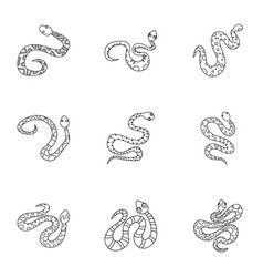 Venomous snake icon set outline style vector