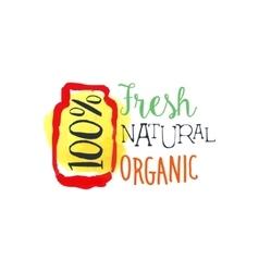 Organic 100 percent fresh juice promo sign vector