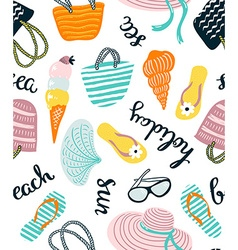Summer seamless pattern with beach accessories vector
