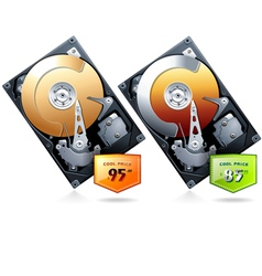 Two hard disk drive hdd with price badge vector