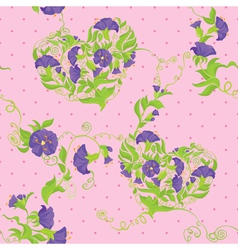 Seamless pattern - convolvulus flowers hearts vector