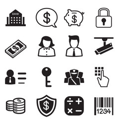 Money finance banking silhouette icons set vector