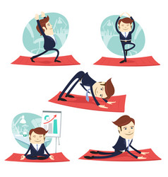 funny business man wearing suit doing yoga and vector image
