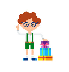 Cute little boy with stack of gift boxes icon vector