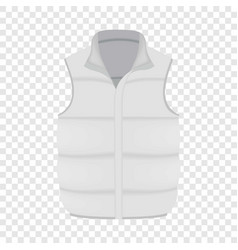Back of white warm vest mockup realistic style vector