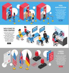 Visa center banners set vector