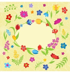 Beautiful greeting card with spring flowers vector image