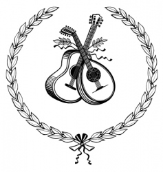 Laurel wreath with instruments vector
