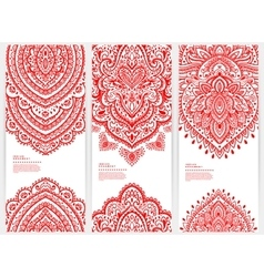 Set of banners with floral indian ornaments can be vector
