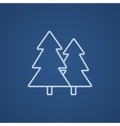Pine trees line icon vector