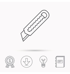 Paper knife icon cutter tool sign vector