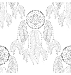 Hand drawn zentangle dream catcher seamless vector