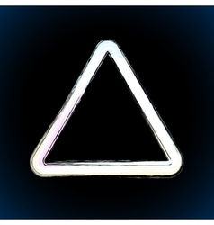 White brush painted ink triangle vector image