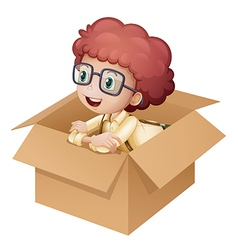 A girl in a box vector image