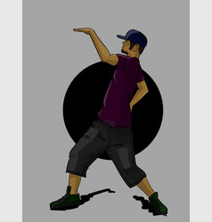 A guy in a purple t-shirt and gray shorts dancing vector