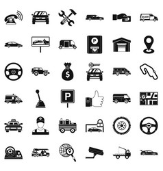 Auto rental icons set simple style vector
